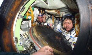 Dennis Tito in the Russian Soyuz that took him into space